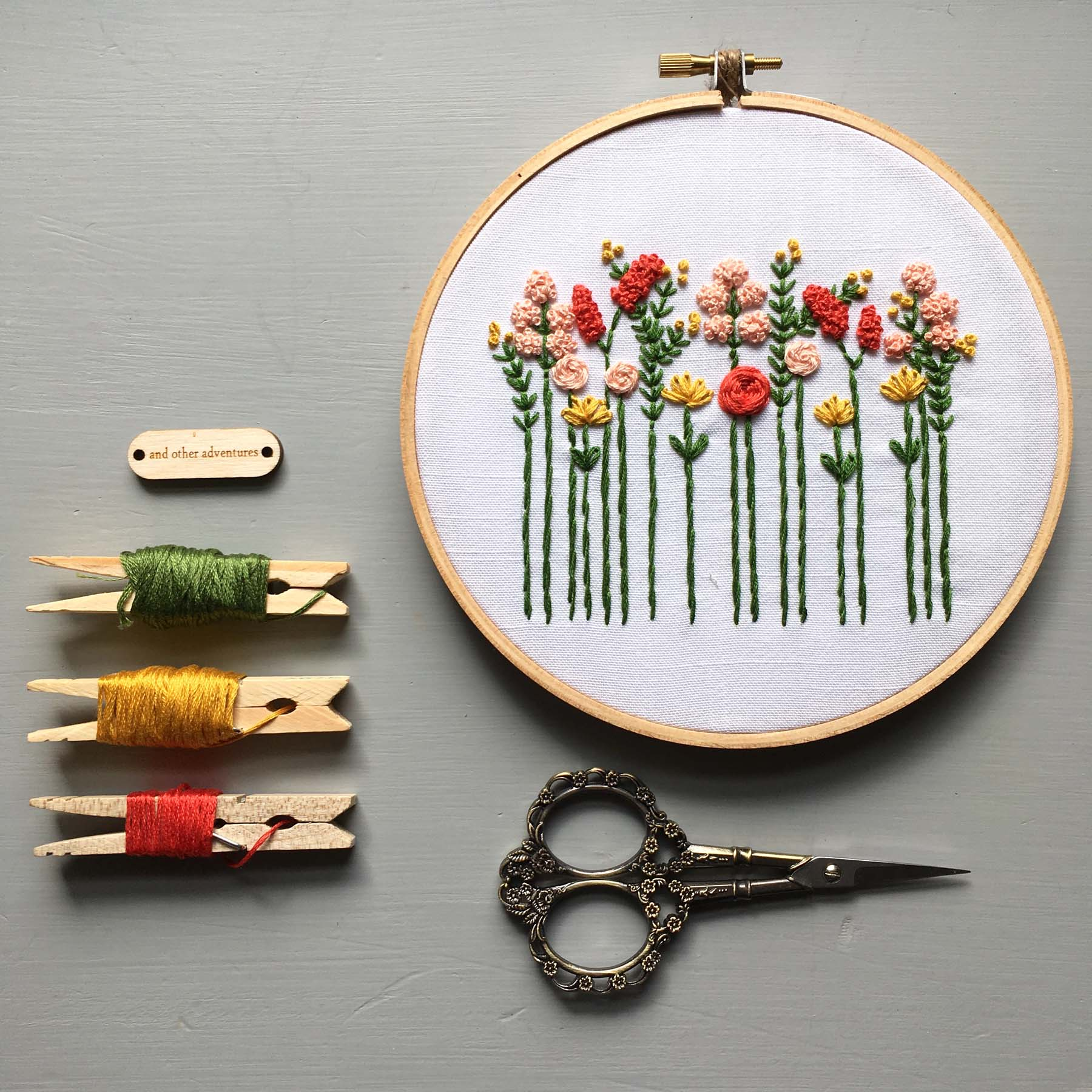 Beginner Hand Embroidery Pattern - Summer Wildflowers Digital Download