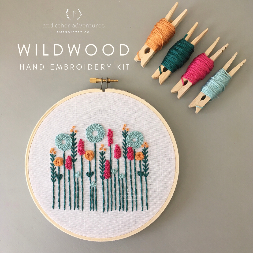 Beginner Hand Embroidery Kit - Wildwood in Teal - And Other Adventures Embroidery Co