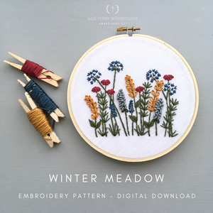Winter Meadow Hand Embroidery PDF Pattern - Digital Download by And Other Adventures Embroidery Co