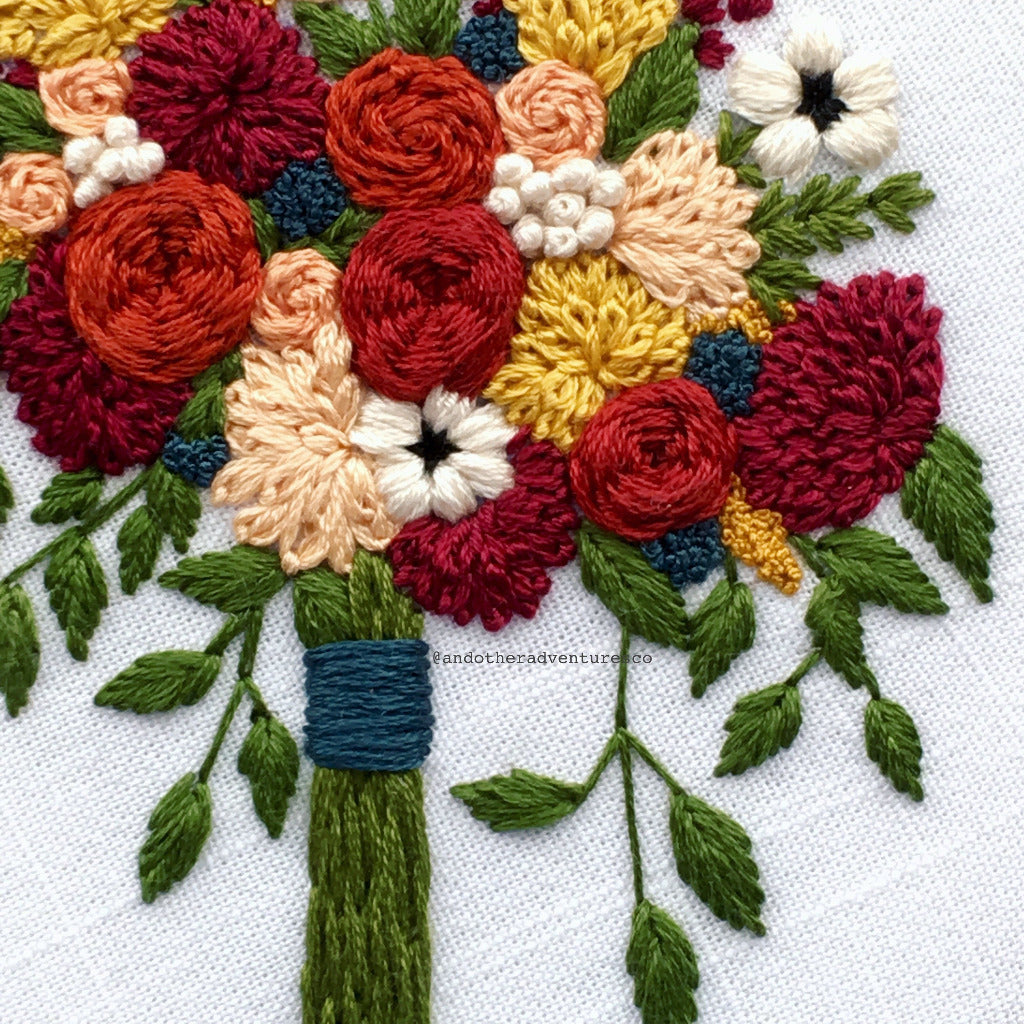 Antonia Embroidered Flower Bouquet - DIY hand embroidery pattern by And Other Adventures Embroidery Co