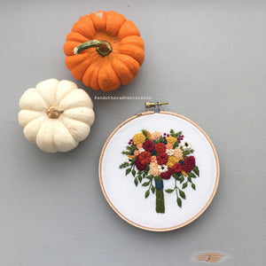 hand embroidered fall bouquet by And Other Adventures Embroidery Co