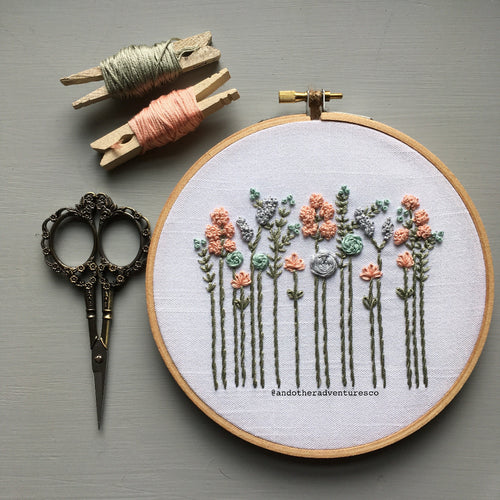 Muted Pastels Wildflower Embroidery Design by And Other Adventures Embroidery Co