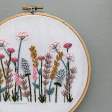 Pink and Gold embroidered flowers by And Other Adventures Embroidery Co