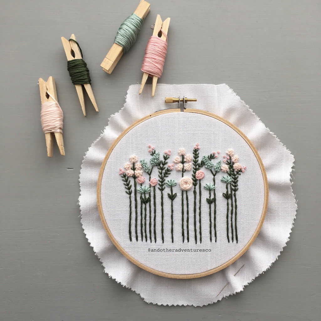 Pastel Wildflower Hand Embroidery Pattern by And Other Adventures Embroidery Co