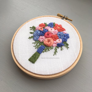 Coral and Blue flower bouquet embroidery pattern by And Other Adventures Embroidery Co