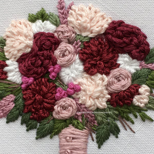 Mauve and Burgundy Embroidered Flower Bouquet by And Other Adventures Embroidery Co