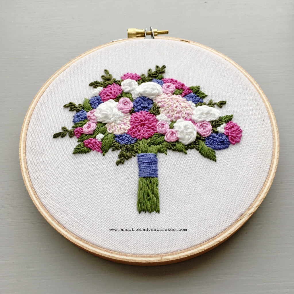 Pink, Purple, and White Embroidered Flower Bouquet by And Other Adventures Embroidery Co
