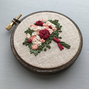 Red and Ivory Floral Bouquet Embroidery by @andotheradventuresco
