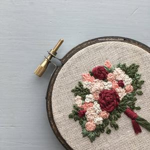 Romantic Gift Embroidered Floral Bouquet by And Other Adventures Embroidery Co