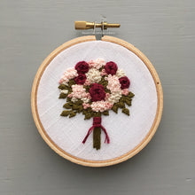 Crimson and Pink Floral Bouquet Embroidery by And Other Adventures Embroidery Co