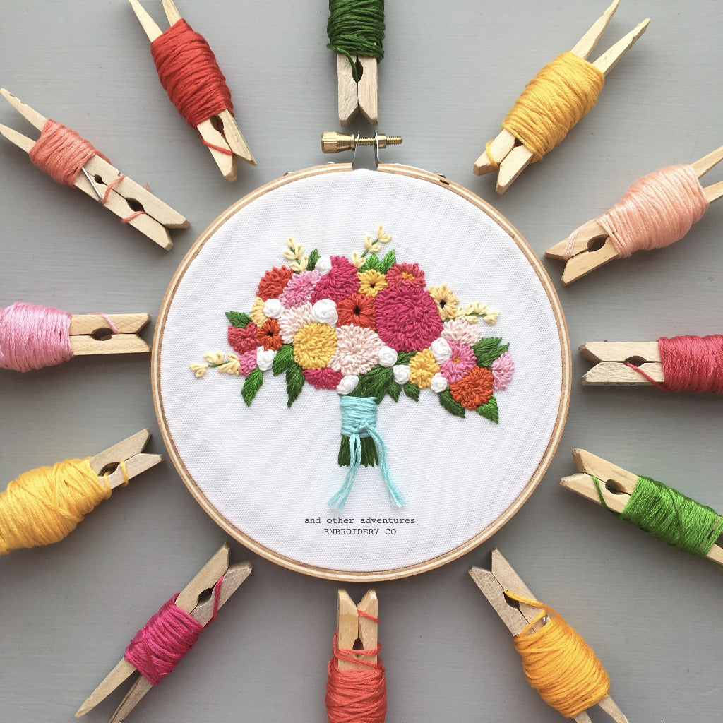 Bright Floral Bouquet Embroidery Pattern by And Other Adventures