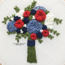 Red, White, and Blue Flower Bouquet Embroidery by And Other Adventures