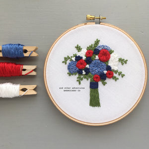 Americana Floral Hand Embroidery Pattern by And Other Adventures