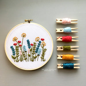 Bright Summer Meadow Hand Embroidery Pattern by And Other Adventures Embroidery Co