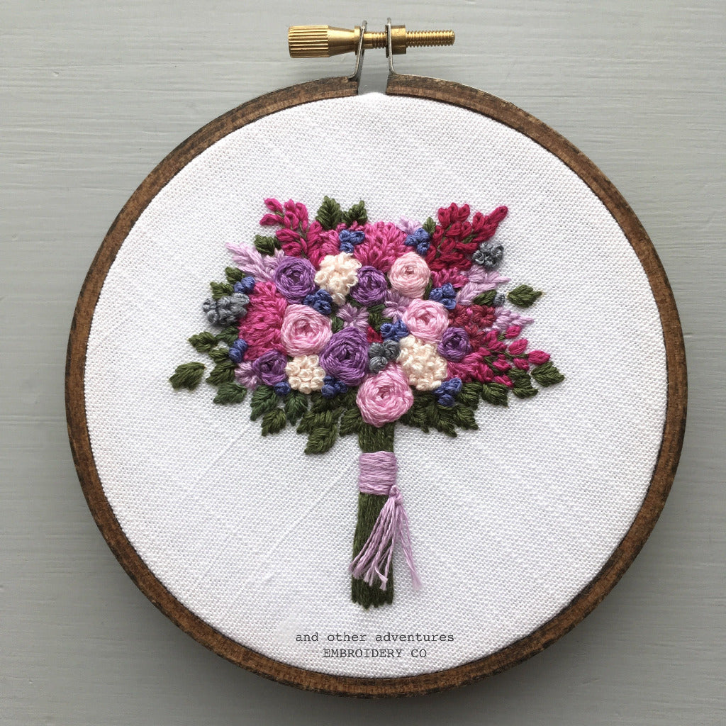 Magenta, Pink and Purple Embroidered Flower Bouquet by And Other Adventures Embroidery Co