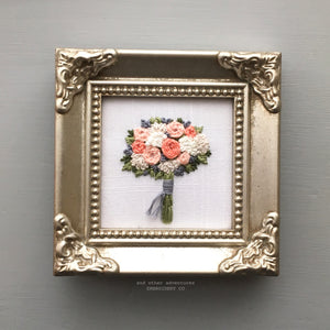 Embroidered Spring Flower Bouquet Framed Art by And Other Adventures Embroidery Co