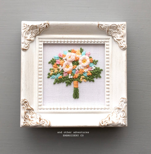 Framed Spring Flower Bouquet Embroidery By And Other Adventures Embroidery Co