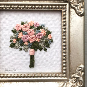 Mauve Embroidered Bouquet Framed Art By And Other Adventures Embroidery Co