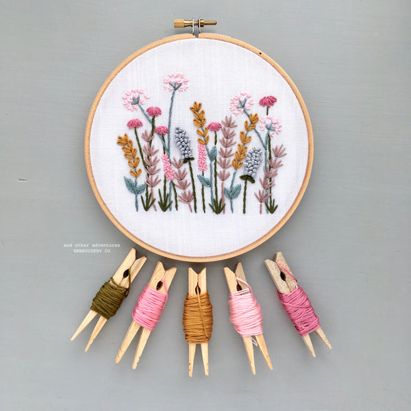 Spring Meadow Hand Embroidery Hoop Art by And Other Adventures Embroidery Co