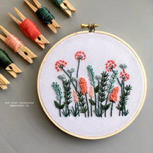 Coral and Mint Meadow Hand Embroidery Pattern - Digital Download