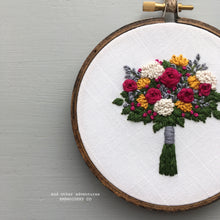 Hand Stitched Jewel Toned Flower Bouquet Hoop Art by And Other Adventures Embroidery Co