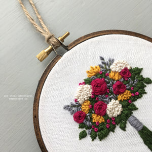 Jewel Toned Bouquet Embroidery Hoop by And Other Adventures Embroidery Co