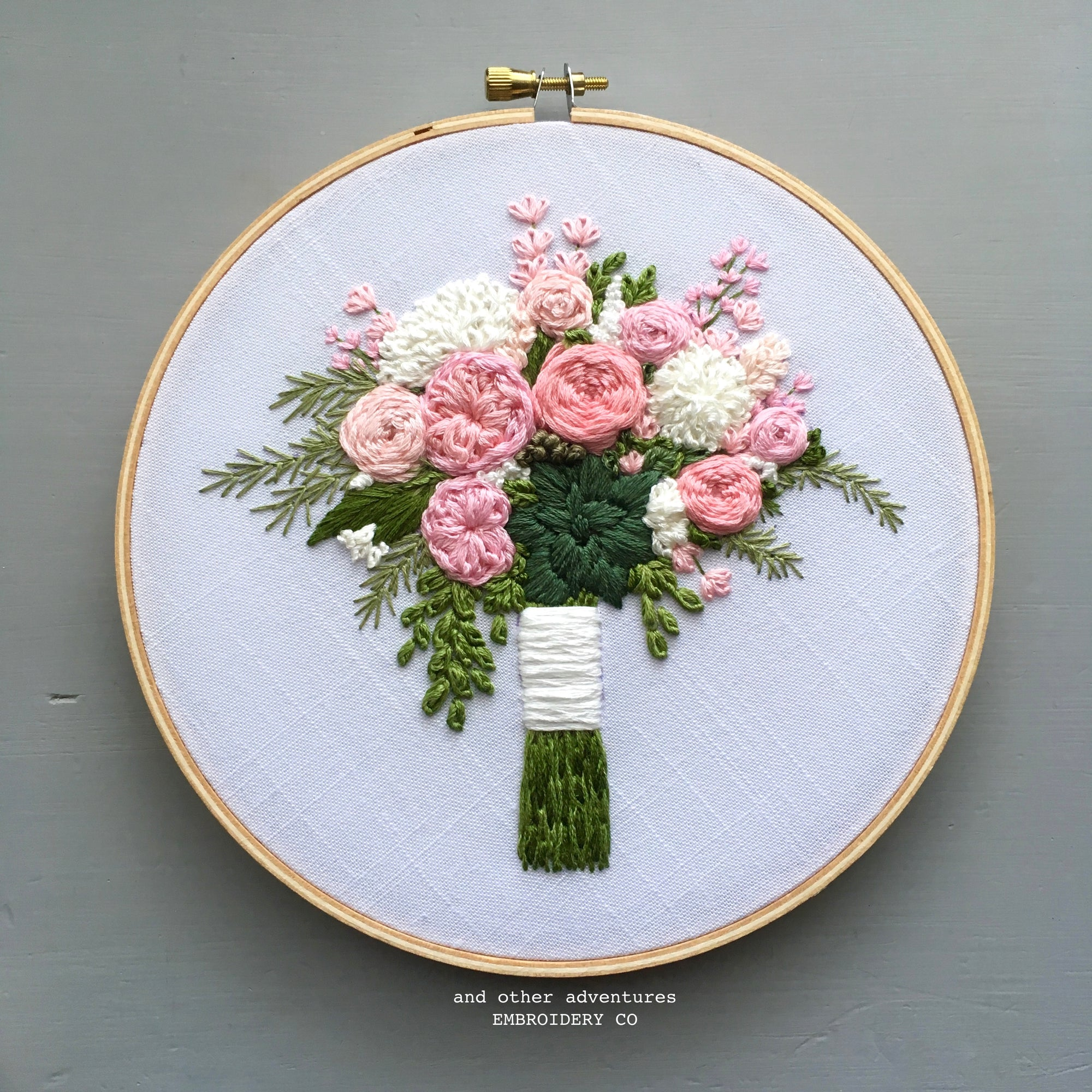 Pink Peony Bouquet Embroidered Hoop Art by And Other Adventures Embroidery Co