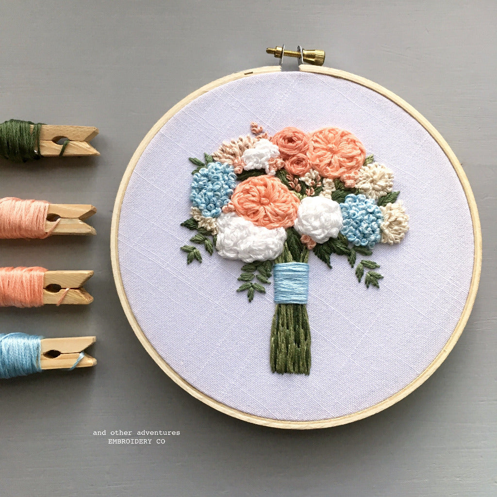 Peach and Pale Blue Flower Bouquet Embroidery Hoop Art by And Other Adventures Embroidery Co