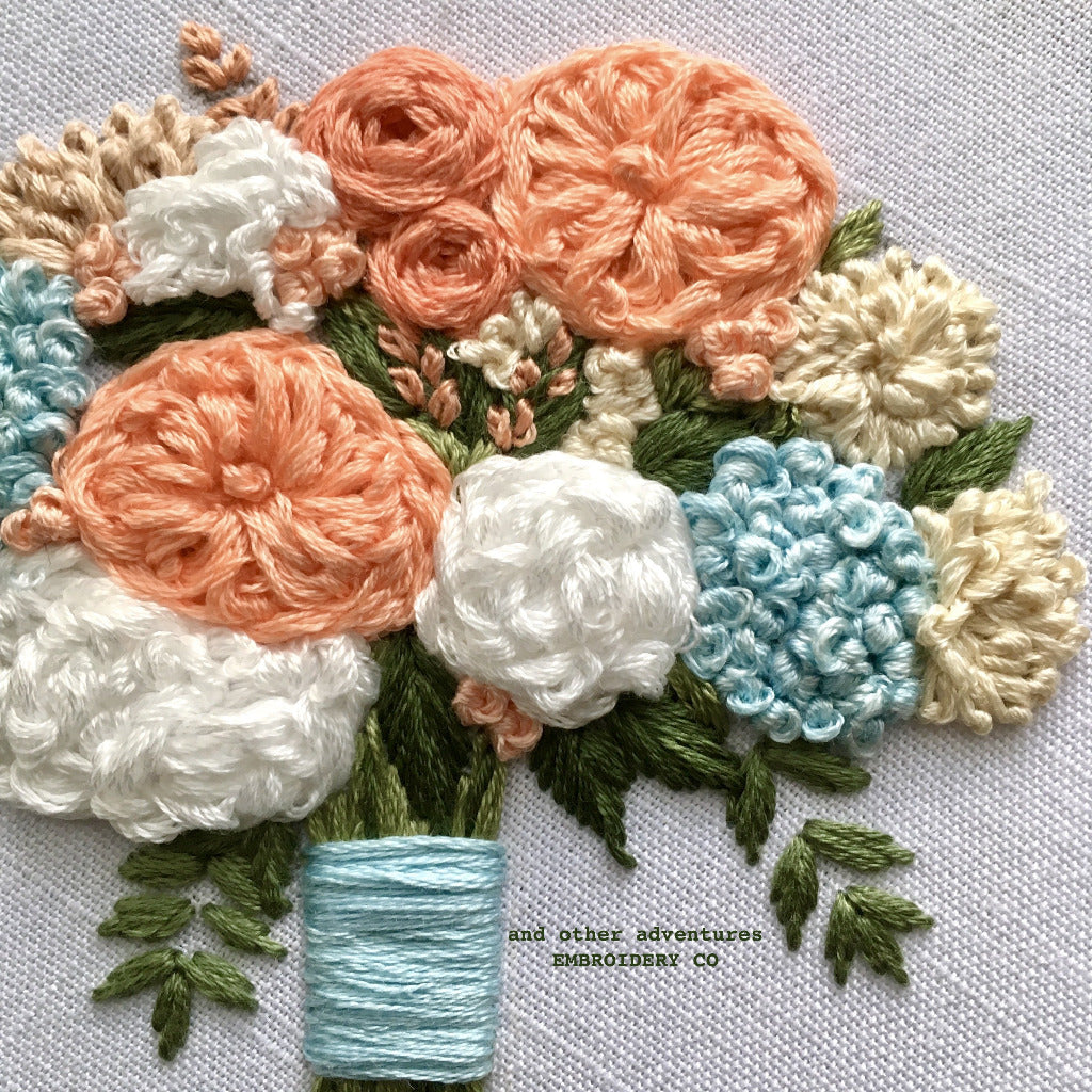 Peach Peony Blooms with Blue Hydrangeas by And Other Adventures Embroidery Co