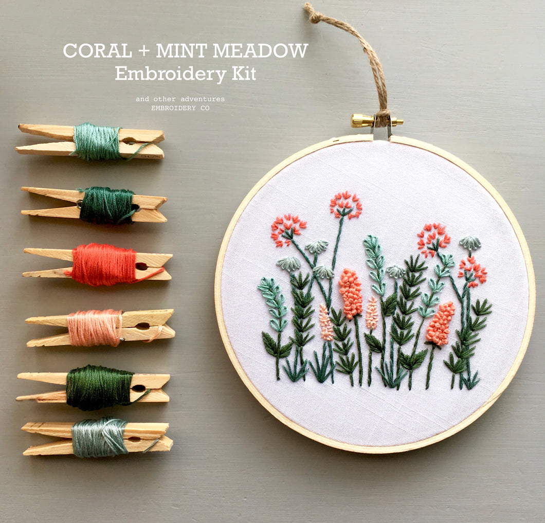 Coral and Mint Meadow DIY Hand Embroidery KIT by And Other Adventures Embroidery Co