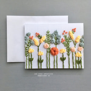 Indian Summer Wildflower Blank Notecard by And Other Adventures Embroidery Co
