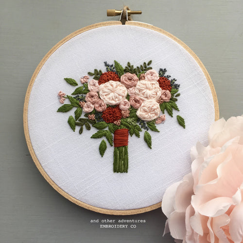 Hand Stitched Fall Floral Bouquet Art by And Other Adventures Embroidery Co