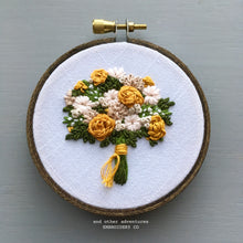 Mustard Gold Floral Embroidery Hoop by And Other Adventures Embroidery Co