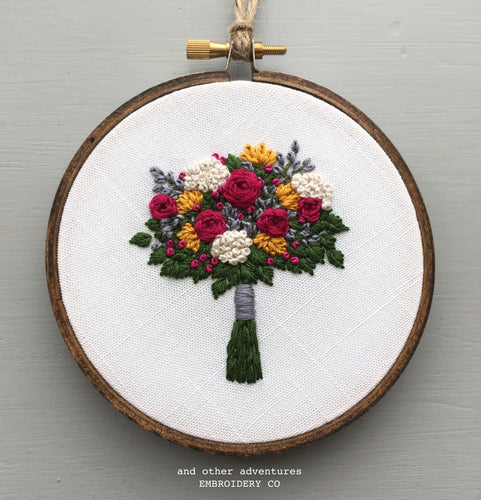 Hand Embroidery Flower Bouquet Art by And Other Adventures Embroidery Co