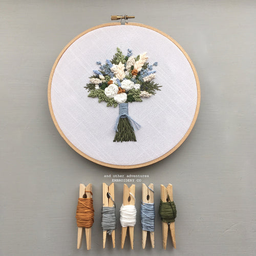 Pale Blue and Cream Floral Bouquet Hand Embroidered Hoop Art by And Other Adventures Embroidery Co
