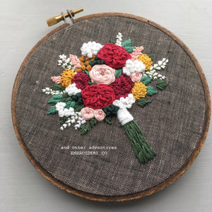 Hand Stitched Florals Embroidery Hoop by And Other Adventures Embroidery Co