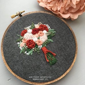 Hand Embroidered Rust and Pale Peach Bouquet on Tweed by And Other Adventures Embroidery Co