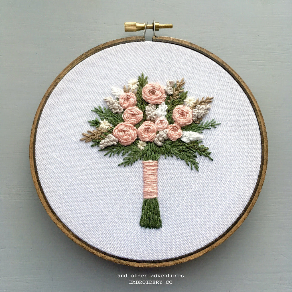 Champagne Pink Hand Embroidered Bouquet Hoop Art by And Other Adventures