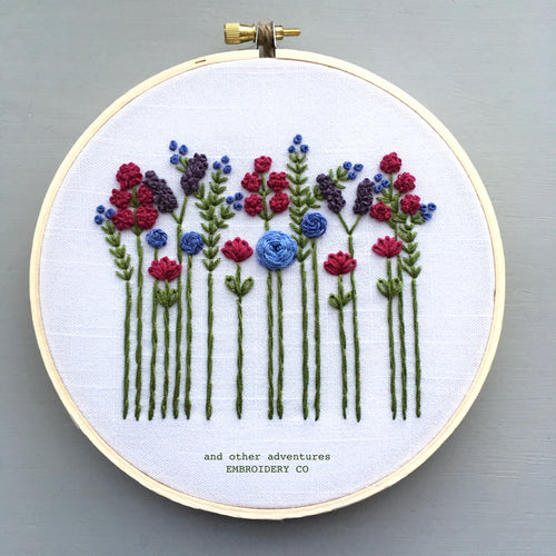 Hand Embroidered Wildflower Hoop Art - Jewel Tones by And Other Adventures Embroidery Co
