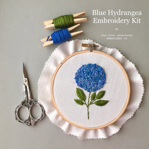 Modern Hand Embroidery Kit - Blue Hydrangea by And Other Adventures Embroidery Co