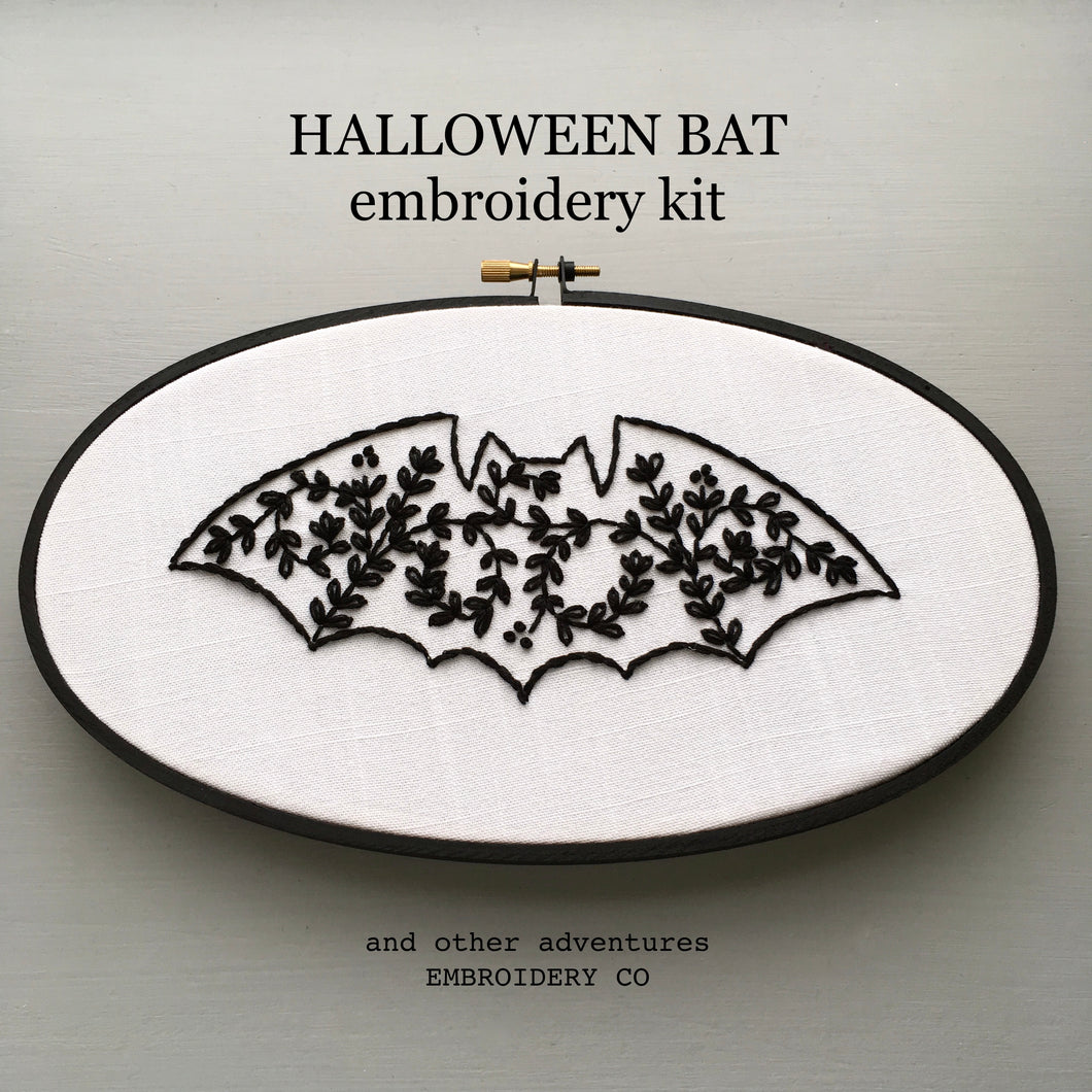 Halloween Bat Hand Embroidery KIT by And Other Adventures Embroidery Co