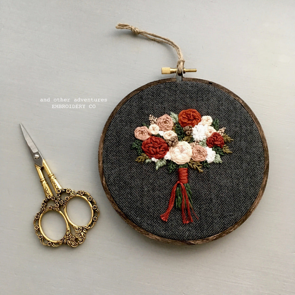 Embroidered Fall Bouquet Hoop Art made by And Other Adventures Embroidery Co