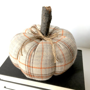 plaid pumpkin fall decor