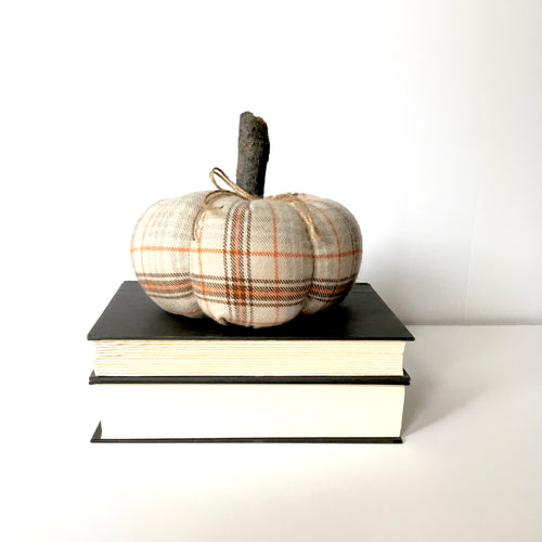 brown and orange plaid pumpkin