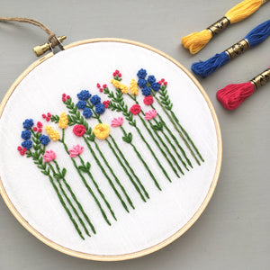 bright embroidered wildflowers