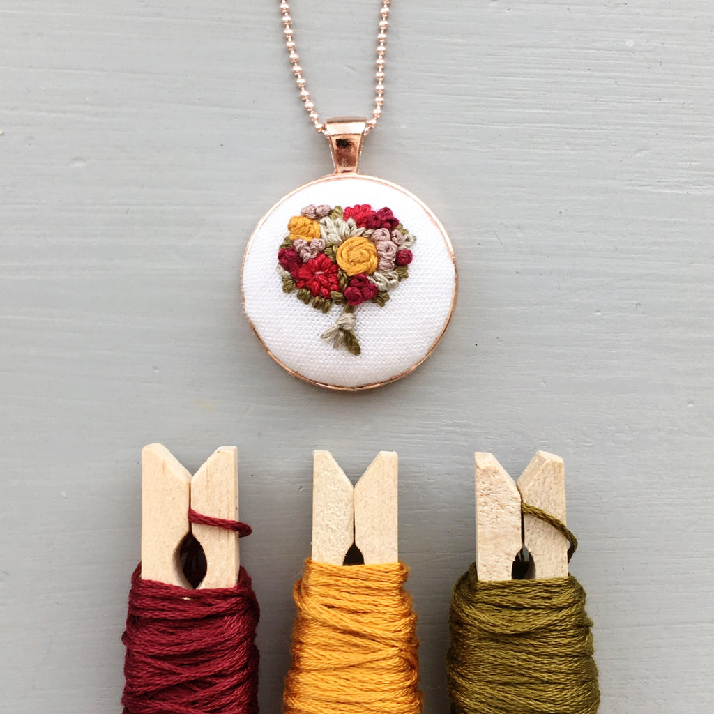 embroidered fall necklace