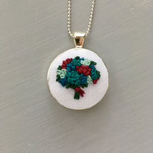 Flower Bouquet Embroidery Necklace