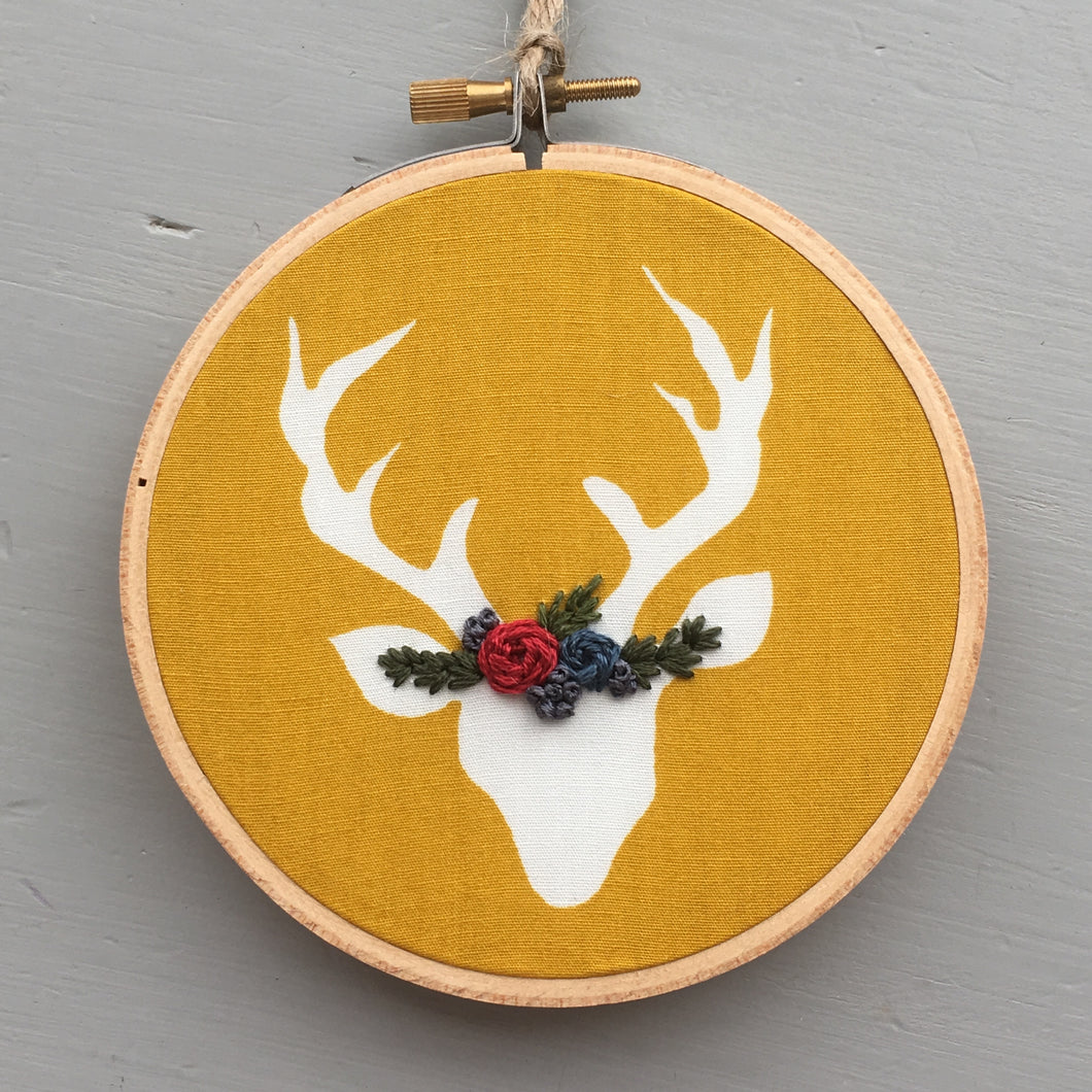 Mustard Yellow Deer Embroidery Hoop by And Other Adventures Embroidery Co