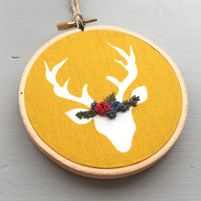 Hand Embroidered Mustard Yellow Deer Ornament by And Other Adventures