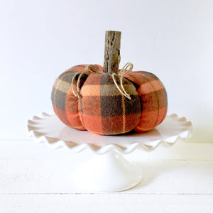 orange and grey plaid pumpkin fall decor